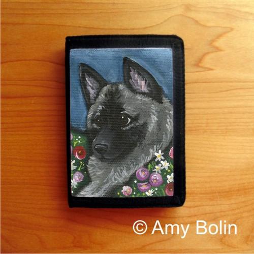 """Mom's Favorite Daisy"" Norwegian Elkhound Trifold Wallet"