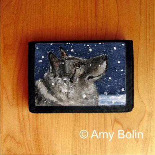 """Senja's Snow Day"" Norwegian Elkhound Trifold Wallet"