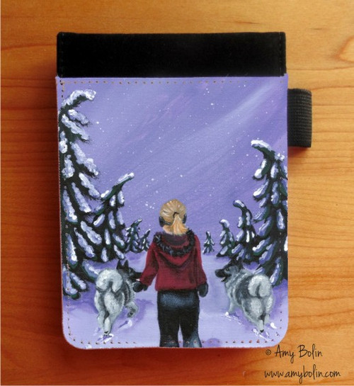 """A Snowy Walk"" Norwegian Elkhound Notebooks (several sizes available)"
