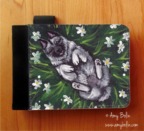 """""""Happiness Is A Field Of Daisies"""" Norwegian Elkhound Notebooks (several sizes available)"""