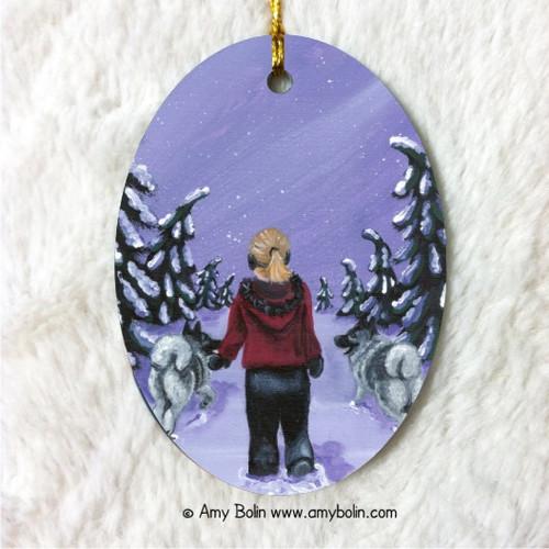 """A Snowy Walk"" Norwegian Elkhound Ceramic Ornament Oval"