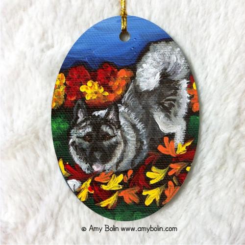 """""""Autumn's Simple Pleasures"""" Norwegian Elkhound Ceramic Ornament Oval"""