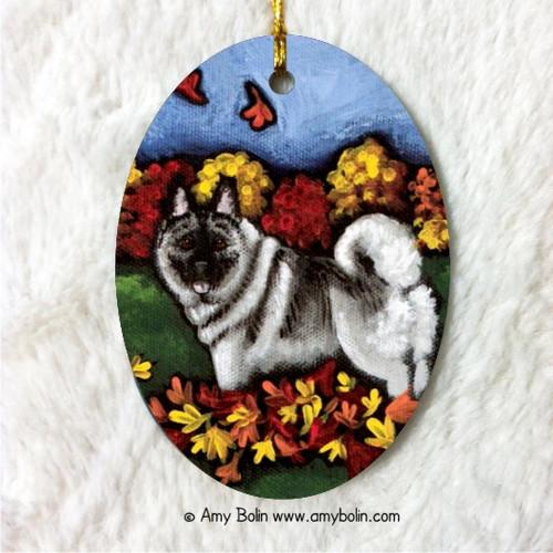 """Chasing Leaves"" Norwegian Elkhound Ceramic Ornament Oval"