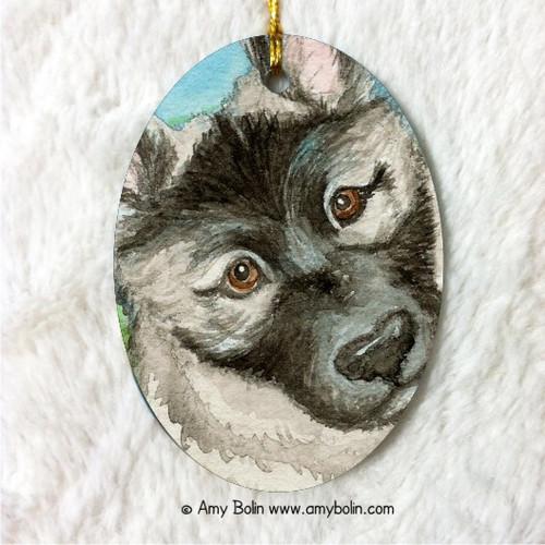 """Puppy"" Norwegian Elkhound Ceramic Ornament Oval"