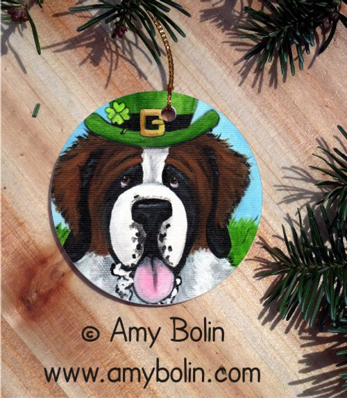 """A Big Wet Irish Kiss"" Saint Bernard Ceramic Ornament Round"