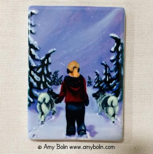 """A Snowy Walk"" Norwegian Elkhound Magnet"