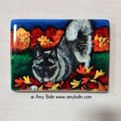 """Autumn's Simple Pleasures"" Norwegian Elkhound Magnet"