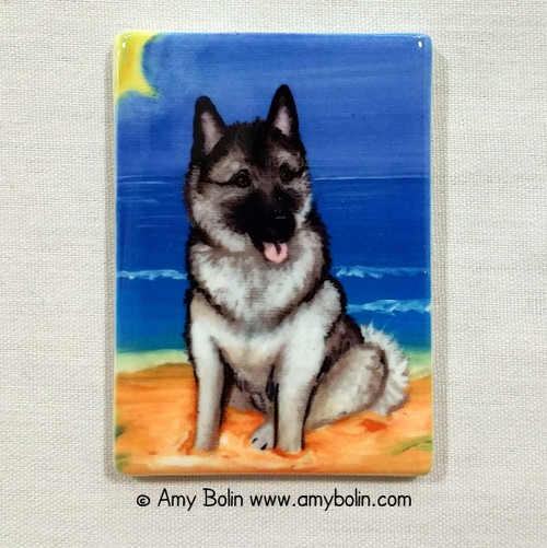 """Beach Bum"" Norwegian Elkhound Magnet"