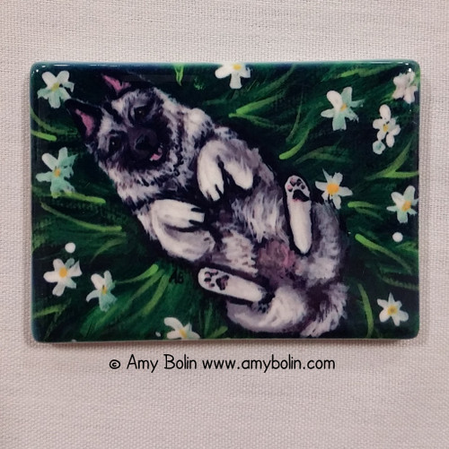 """""""Happiness Is A Field Of Daisies"""" Norwegian Elkhound Magnet"""