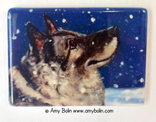 """Senja's Snow Day"" Norwegian Elkhound Magnet"