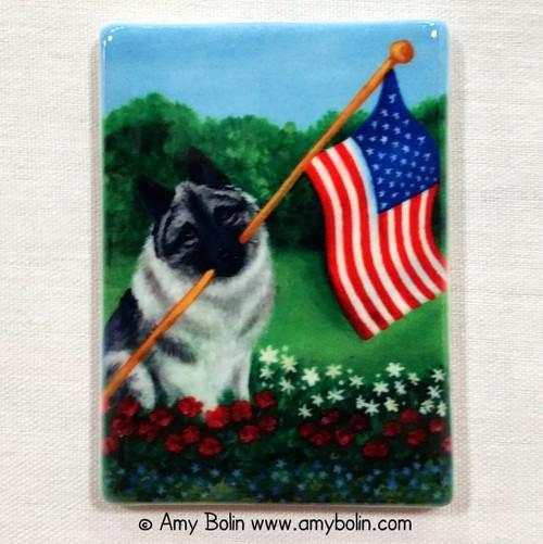 """Proud To Be American"" Norwegian Elkhound Magnet"