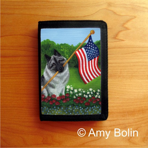 """""""Proud To Be American"""" Norwegian Elkhound Trifold Wallet"""