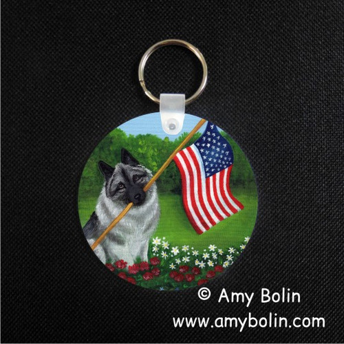 """Proud To Be American"" Norwegian Elkhound Keychain"