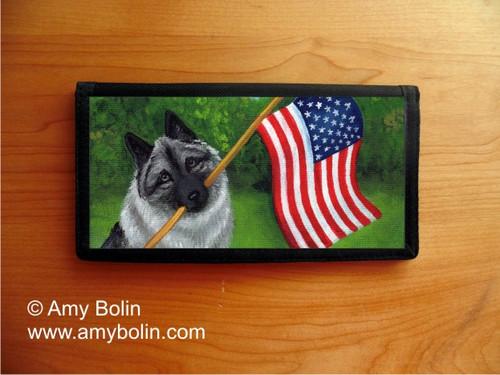 """Proud To Be American"" Norwegian Elkhound Checkbook Cover"