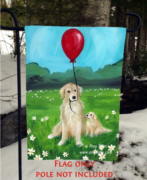 """A Golden Afternoon"" Golden Retriever Garden Flag"