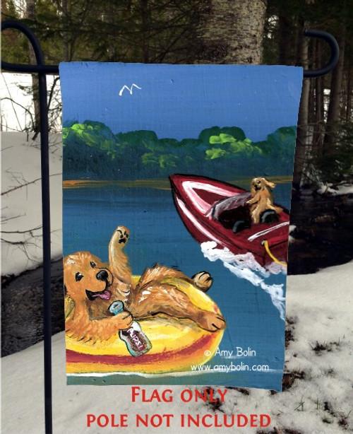 """""""Goldens On The Lake 1"""" Golden Retriever Garden Flag"""