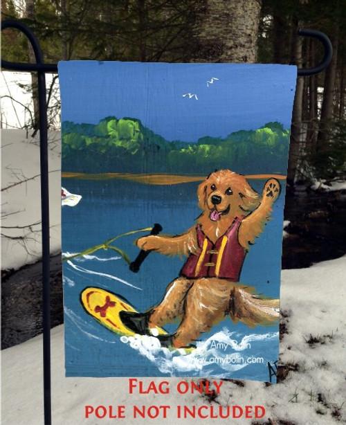 """""""Goldens On The Lake 2"""" Golden Retriever Garden Flag"""