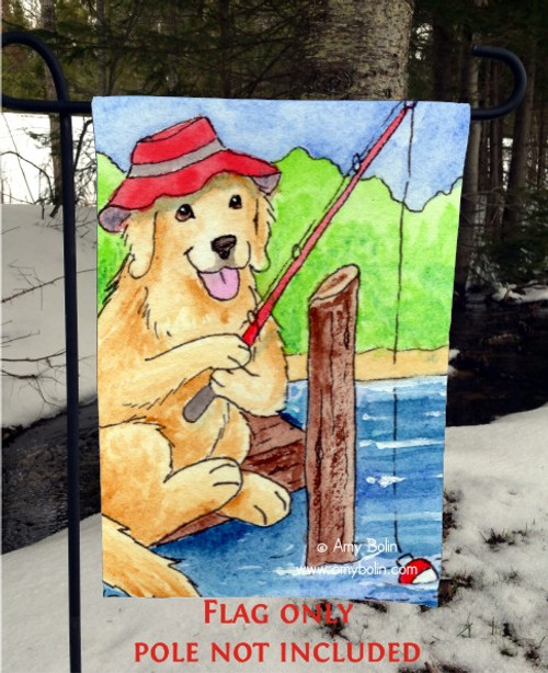 GARDEN FLAG · GONE FISHING · GOLDEN RETRIEVER · AMY BOLIN