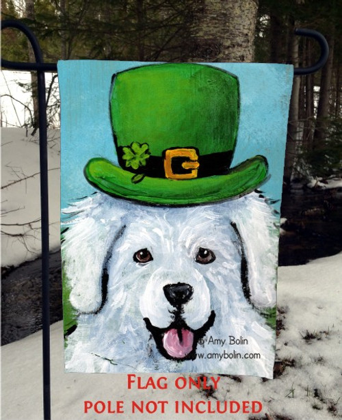 """A Big, Wet Irish Kiss"" Great Pyrenees Garden Flag"