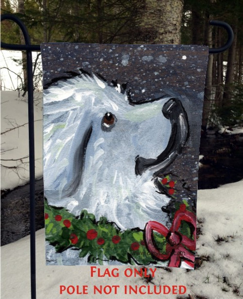 """""""Christmas Traditions"""" Great Pyrenees Garden Flag"""