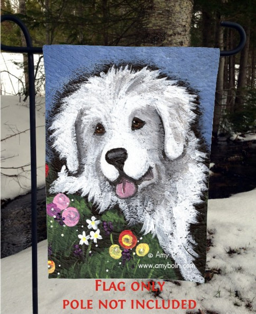 GARDEN FLAG · MOM'S FAVORITE FLOWER · GREAT PYRENEES · AMY BOLIN