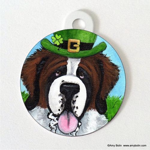 """""""A Big, Wet Irish Kiss"""" Saint Bernard Double Sided Pet ID Tag"""