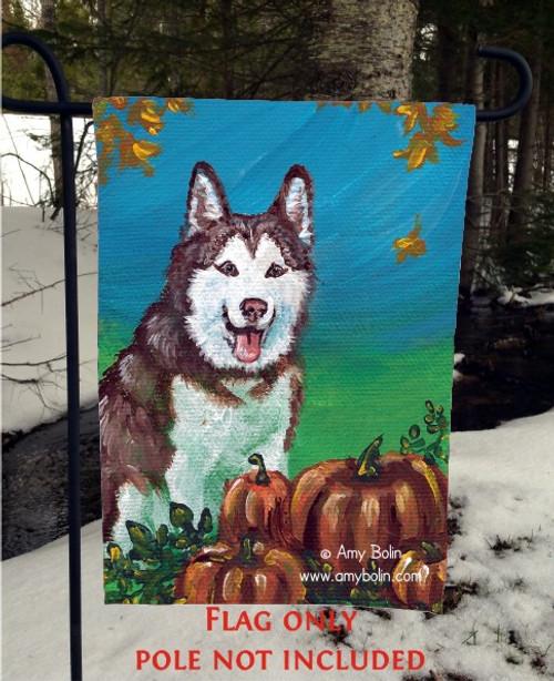 """Autumn's Simple Pleasures"" Siberian Husky Garden Flag"