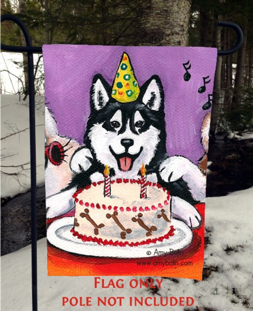 """Birthday:  Happy Birthday To You"" Siberian Husky (brown eye) Garden Flag"