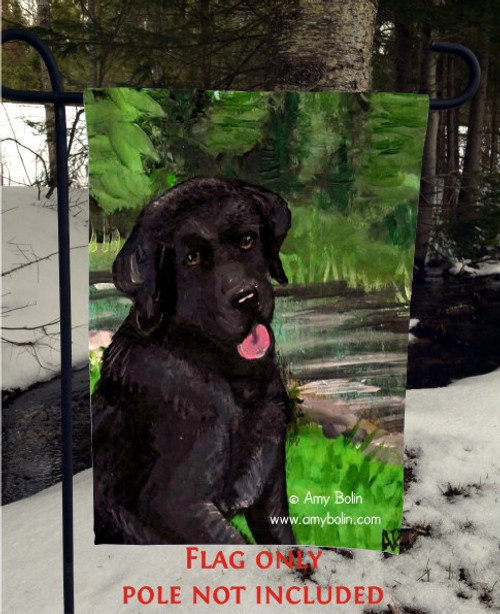 """Sam On The Sturgeon"" Black Labrador Retriever Garden Flag"