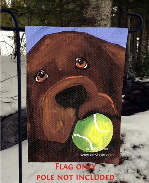 """Wanna Play?"" Chocolate Labrador Retriever Garden Flag"