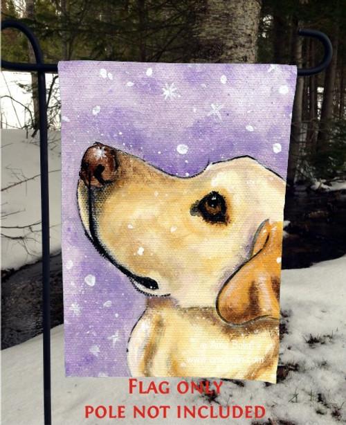 """""""Wish Upon A Snowflake"""" Yellow Labrador Retriever Garden Flag"""