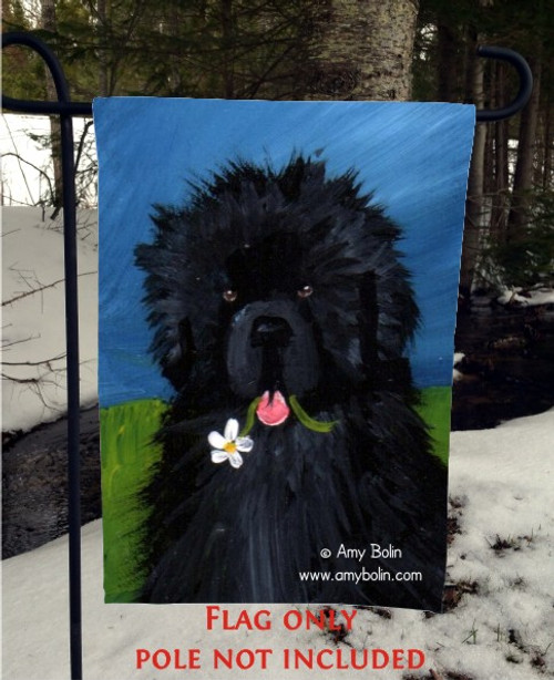 """A Flower For Mom"" Black Newfoundland Garden Flag"