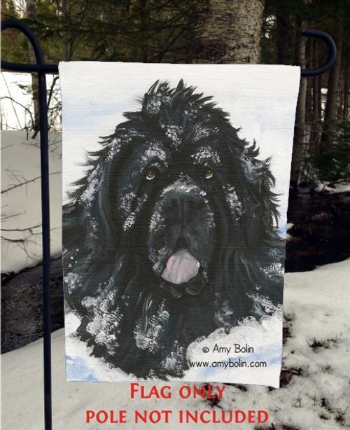 """Scarlet's Snow Day"" Black Newfoundland Garden Flag"