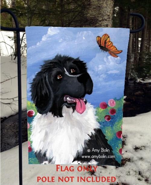 """Spring's Simple Pleasures"" Landseer Newfoundland Garden Flag"