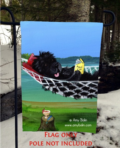 """""""This Is The Life"""" Black Newfoundland Garden Flag"""