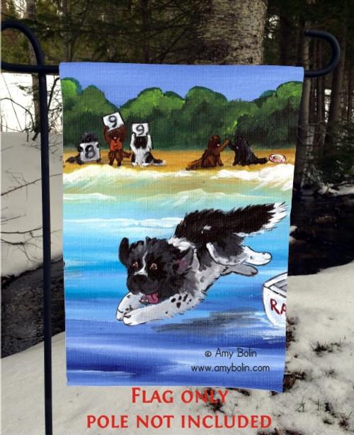 """Water Rescue 101"" Black, Brown, Landseer Newfoundland Garden Flag"
