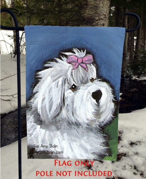 """All Gussied Up"" Old English Sheepdog Garden Flag"
