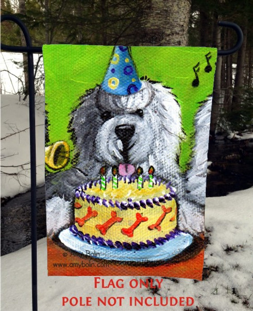 """Happy Birthday To You"" Old English Sheepdog Garden Flag"