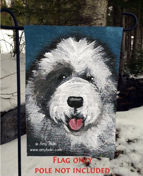 """""""Toby"""" Old English Sheepdog Garden Flag"""