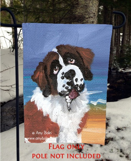 """A Day At The Beach"" Saint Bernard Garden Flag"
