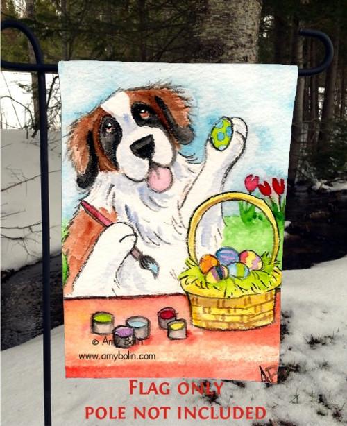 """""""Easter Egg Artist"""" Saint Bernard Garden Flag"""