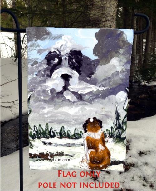 """""""First Snow"""" Saint Bernard Garden Flag"""