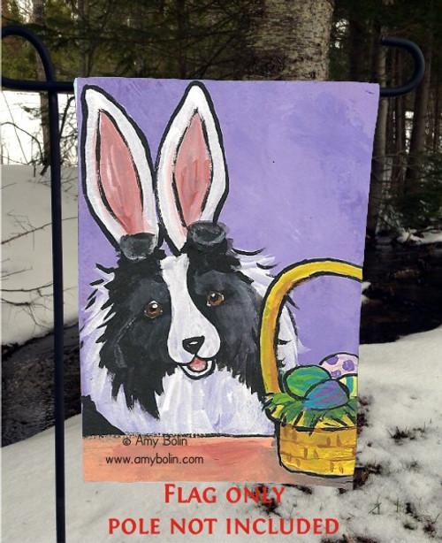 """""""Easter"""" Bi Black Shetland Sheepdog Garden Flag"""