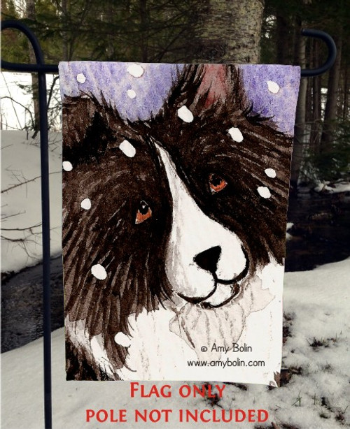 """Snowy"" Bi Black Shetland Sheepdog Garden Flag"