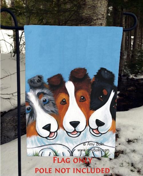 """BFF's"" Blue Merle, Sable, Tri Color Shetland Sheepdog Garden Flag"