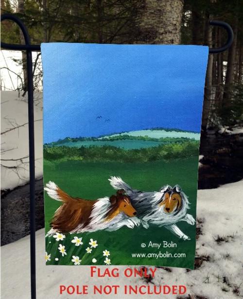 """""""Four Seasons Sheltie: Summer"""" Blue Merle, Sable Sheltie Shetland Sheepdog Garden Flag"""