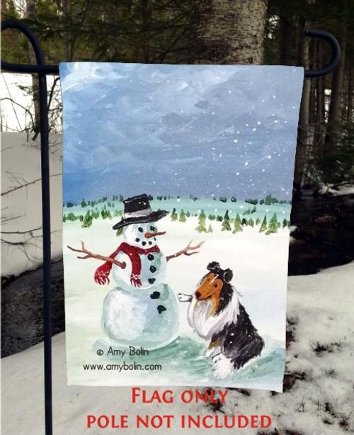 """Four Seasons Sheltie: Winter"" Tri Color Sheltie Shetland Sheepdog Garden Flag"