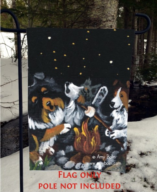 """Shelties Around The Campfire"" Blue Merle, Sable, Tri Color Shetland Sheepdog Garden Flag"