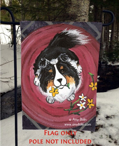 """Be Mine"" Tri Color Shetland Sheepdog Garden Flag"