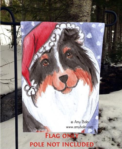 """""""Santa"""" Tri Color Shetland Sheepdog Garden Flag"""